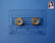 Aretes, accesorios de cassette, reciclando.
