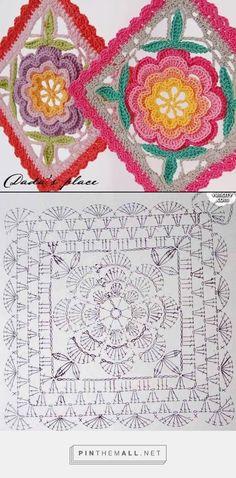 - created on Motifs Granny Square, Granny Square Crochet Pattern, Crochet Flower Patterns, Crochet Stitches Patterns, Crochet Diagram, Crochet Squares, Knitting Patterns, Granny Squares, Poncho Au Crochet