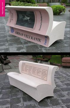 Super cool book bench in Turkey! The city of Istanbul is promoting reading with book benches. Benches that look like an open book have been placed around the city and on each bench which carry poems from 18 famous Turkish poets.