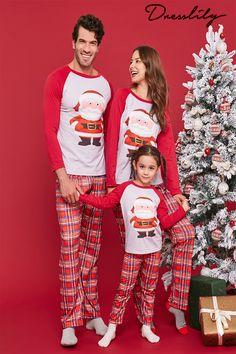 1117bdefe8 Christmas Santa Claus Plaid Pajamas Sets for Family Family Christmas Photo  ideas