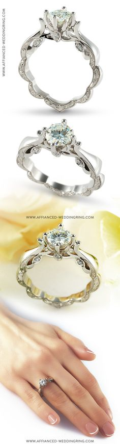 Extreme look white gold engagement ring decorated with center diamond and 6 pcs small diamonds. Gemstone Jewelry, Diamond Jewelry, Gemstone Engagement Rings, Rare Gemstones, Diamond Are A Girls Best Friend, Diamonds, White Gold, Wedding Rings, Crystals