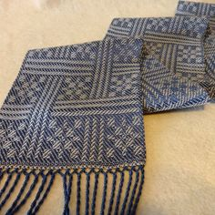 Handwoven Scarf - Tencel Blue and White