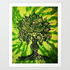 Green Tie-Dyed Goddess print Art Print by Behennaed - $17.68