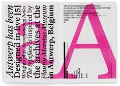 Antwerp font created by Kubel. The hot pink is what draws my eye immediately. The layering, and italicized/regular combination of the font is very appealing. I love how the left side of the page is vertical, while and on the right side everything is horizontal. Very unique and fun approach to Graphic Design.