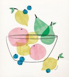 Fruity by Liz Forester #illustration #illustrator #digitalillustration #fruit #midcentury