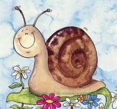 Ο Τομ το σαλιγκάρι | Παίζω και γελώ! Frosch Illustration, Cute Illustration, Cartoon Drawings, Animal Drawings, Snail Art, Art Mignon, Painted Rocks Craft, Happy Paintings, Rock Crafts