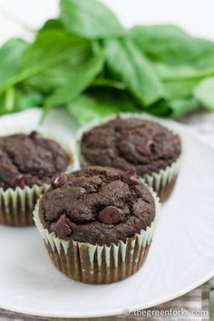 Secret SPINACH Double Chocolate Muffins- uses an entire bag of spinach and you can't taste it! #vegan Note from Mandi: I made these with less sugar and maple syrup than the recipe called for. They were still amazing. Baked then in a heart-shaped doughnut pan and threw a few sprinkles on top. Lucy was ecstatic about getting to eat doughnuts, and she even knows what the real ones taste like. She still went nuts for these. Victory!