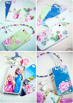 Such a clever way to 'dress' your phone. Buy a clear phone case and cut a pretty piece of fabric or paper/photo to size. This might make a cute fathers day gift the kids could help to make.