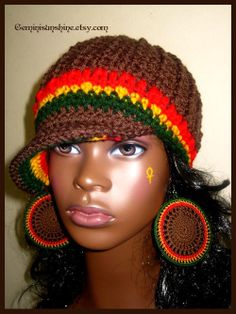 Chocolate Rasta Crochet Hat and Earrings by Geminisunshine on Etsy, $36.00
