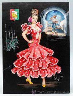 Dibujo original para postal Málaga Elsi Gumier traje regional años 50 Like A Rhinestone Cowboy, Sewing Art, How To Speak Spanish, Andalucia, Ribbon Embroidery, Doll Toys, Kitsch, Painting & Drawing, Costumes