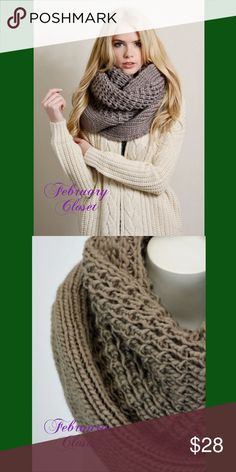 Chunky Knit Scarf New X-Large Warm Chunky Knit Infinity Scarf. Color; mocha. 31 x 16. Warm and Trendy. New from Vendor. February Closet Accessories Scarves & Wraps