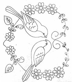 Hand Embroidery Design Patterns, Hand Embroidery Designs, Embroidery Stitches, Motif Floral, Quilling Patterns, Fabric Painting, Animal Coloring Pages, Drawings, Crafts