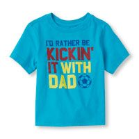Toddler Boys Short Sleeve 'I'd Rather Be Kickin' It With Dad' Graphic Tee