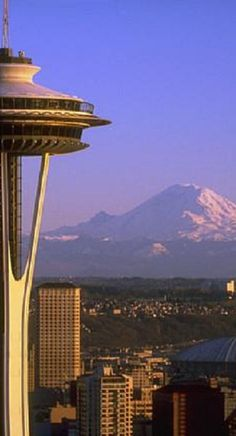 The Space Needle in Seattle, Washington with Mount Rainier in the background