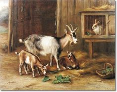 Edgar Hunt - Goats By A Rabbit Hutch 1919