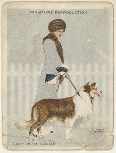 "Valentine Sandberg, ""Lady with Collie"" from the series ""Artistic Pictures"" (T32), issued by Liggett & Myers Tobacco Company to promote Richmond Straight Cut Cigarettes. Issued by Liggett & Myers Tobacco Company (American, North Carolina) 1913-14. Commercial color lithograph. Metropolitan Museum of Art, New York."