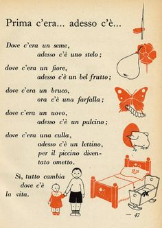 ",filastrocca "" dove c'era adesso c'è"" Italian Grammar, Italian Vocabulary, Italian Words, Italian Language, Italian Alphabet, Italian Proverbs, Learn To Speak Italian, Italian Lessons, Vintage School"