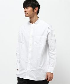 WEGO MEN'S(ウィゴーメンズ)のWEGO/オーバーサイズバンドカラーシャツ(シャツ/ブラウス)|ホワイト