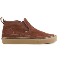 The Vans Surf Mid Slip SF Men's Shoes in the Brown/Light Gum Colorway. Part Classic Slip-On and part Chukka Boot, The Mid Slip SF has an upgrade build. Made with suede uppers and warm lining details,