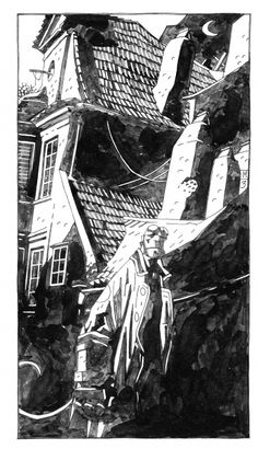 Hellboy in Prague by Mike Mignola. Another of Mike Mignola's understated but remarkably set images of Hellboy. These ink wash illustrations are both illustrative and artistic. The underlying intricacy of the design bellies the simple shapes he employs.