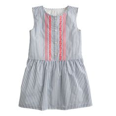 Girls' embroidered dress in blue stripe