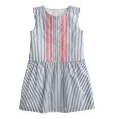 Girls' embroidered dress in blue stripe - everyday dresses - Girl's dresses - J.Crew