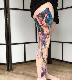 Mermaid Full Leg Watercolor