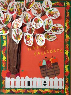 "Fall Autumn teacher's school bulletin board. ""Happy Fallidays"" great for…"