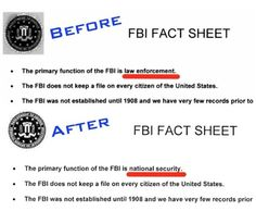 FBI changes mission from law enforcement to protecting the state apparatus