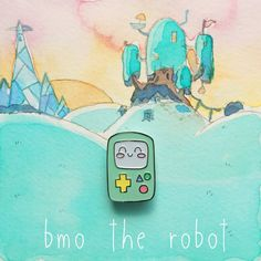 BMO the Robot Approx 1 inch x 1 inch Soft enamel lapel pin with rubber clutch Painted Background Not Included  ••• Sorry, No Trades •••  All art