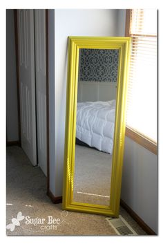Sugar Bee Crafts: Chunky Mirror - adding trim to a cheap wall mirror. And it's yellow.. <3