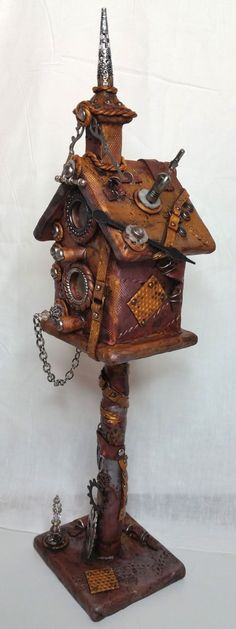 Steampunk Polymer Clay Birdhouse