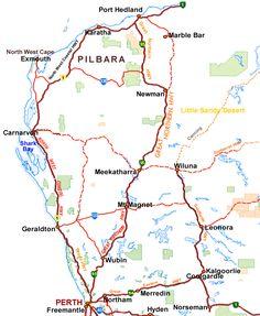 Port Hedland to Perth Road map Western Australian Tourist Drive
