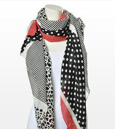 Wrap it up! This combo print scarf features a cool pattern! Pair it with one of our v-neck tees. Cool Patterns, V Neck Tee, Casual Outfits, Hair Beauty, Product Description, Tees, My Style, Clothes, Accessories