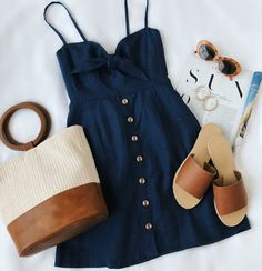 Spring outfits for ideas and scholl and korean. Spring Fashion Rodeo Navy Blue Tie-Front Dress Source by Trend Fashion, Look Fashion, Womens Fashion, Feminine Fashion, Fashion Ideas, Latest Fashion, Romantic Style Fashion, Fashion Online, Jeans Fashion