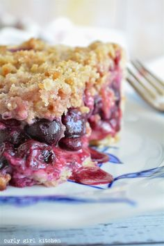 Curly Girl Kitchen: Sour Cherry and Blueberry Crumb Pie with Cream Cheese Crust