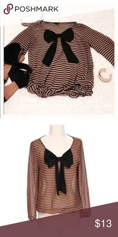 Timing striped blouse with giant bow on it! Timing striped blouse with giant bow on it! Blouse is sheer and is true to size! 100% polyester! Make an offer now girlies!(:🎀 Timing Tops Blouses