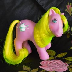 ATCTTeam - Vintage My Little Pony 'Cherry Berry' 'Crunch Berry' Pink Neon Yellow G1 1987 Rare MLP Ice Cream Sundae Best by TeaJay, Vintage  Toy  Animal  My Little Pony  MLP  G1  Crunch Berry  Sundae Best  Cherry Berry  Pink  Purple  Neon Yellow  1987  UK  Mint