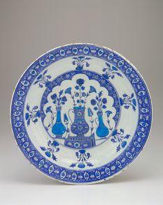 Plate 1525-1535  Ottoman period  Stone-paste body painted under glaze H: 6.8 W: 37.6 cm Iznik, Turkey  F1955.8