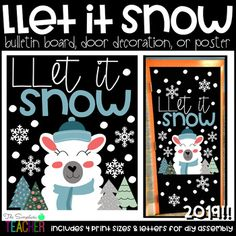 Let it Snow Llama Winter/Christmas Bulletin Board, Door Decor, or Poster Daycare Bulletin Boards, December Bulletin Boards, Halloween Bulletin Boards, Reading Bulletin Boards, Winter Bulletin Boards, School Door Decorations, Winter Theme, Winter Christmas, Library Boards