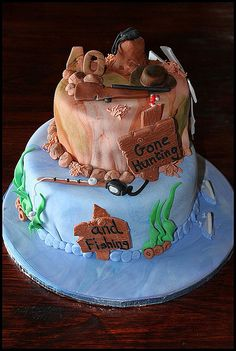 1000 images about fishing themed retirement party on for Gone fishing cake