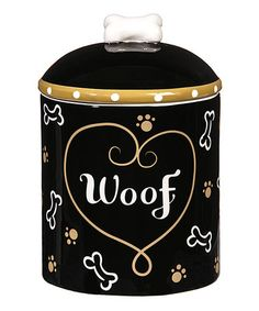 Another great find on #zulily! Ceramic 'Woof' Dog Treat Jar #zulilyfinds