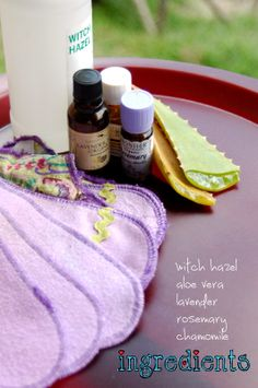 Pregnancy Notes- Soothing Postpartum Pads {recipe}... Each ingredient has specific purposes for promoting healing of the vaginal area along with bring relief. Read on to learn what each ingredient does to bring comfort in the midst of the postpartum period!
