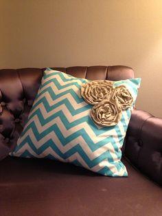 Custom Chevron Pillow Sham with 3 rosettes  by KATbike on Etsy, $21.00