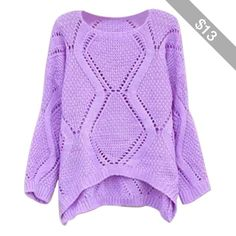 Womens Plain Crewneck Hollow Out Long Sleeve Knitted Sweater Purple