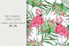 Pink flamingos,palm leaves pattern