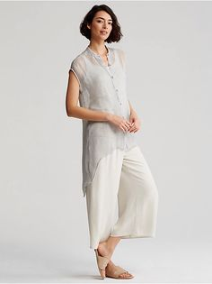 Shop the System from EILEEN FISHER. Mix and match women's basics to create sophisticated outfits. Mandarin Collar Shirt, Kimono Design, Love Fashion, Womens Fashion, Casual Outfits, Fashion Outfits, Mom Dress, Weekend Wear, Summer Outfits Women
