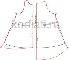 Выкройка свободного платья с асимметричным подолом