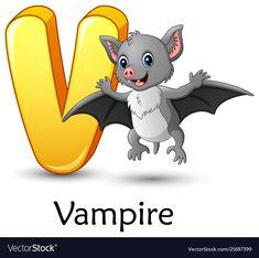 Letter v is for vampire bat cartoon alphabet vector image on VectorStock Crocodile Cartoon, Sheep Cartoon, Kids Vector, Dog Vector, Dragon Fruit Vector, Happy Birthday Animals, Halloween Logo, Sheep Vector, Flashcards For Kids