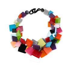 Felice Dee   Multi-Colored Bakelite Necklace - Necklaces - Jewelry ($195) ❤ liked on Polyvore featuring jewelry, necklaces, accessories, colares, multicolor necklace, multi colored jewelry, multi color jewelry, colorful necklace and tri color necklace